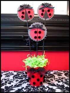 Ladybug Party Decorations Set of 3 by LaLaLissyLou on Etsy