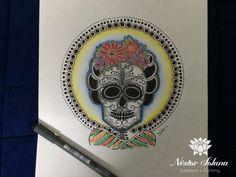 Título: Frida.. Técnica:  estilógrafos Tamaño: 22.9 x 30 cm Material: Papel blanco