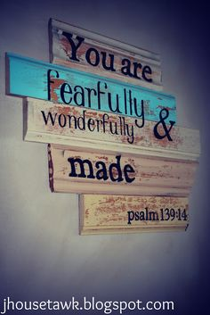 Fearfully and wonderfully made. Includes instructions for how to make this type of wall plaque =)