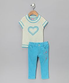 Look at this #zulilyfind! Turquoise Heart Sweater & Pants - Toddler by Sweet & Soft #zulilyfinds