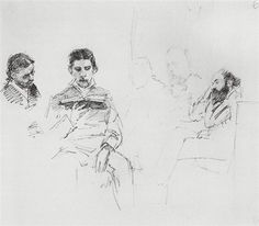 Reading Aloud, 1878 by Ilya Repin. Realism. sketch and study