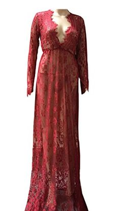 Smile YKK Womens Deep V-Neck Hollow Lace Long Dress Transparent Gown Wine Red S. Material: Lace. Asia Size: S: Bust:86cm, Length:160cm, Waist:62-72cm, Sleeve:60cm;M: Bust:90cm, Length:162cm, Waist:64-74cm, Sleeve:61cm;L: Bust:94cm, Length:164cm, Waist:66-76cm, Sleeve:62cm;XL: Bust:98cm, Length:166cm, Waist:68-78cm, Sleeve:63cm;XXL: Bust:102cm, Length:168cm, Waist:70-80cm, Sleeve:64cm. Show your perfect curves,shows your charm and sexy. Occasion : Wedding party; Evening Party Dress; Cocktail…