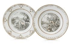 A Set of Two Grisaille Plates, Qianlong period (1736-1795). Photo Stockholm Auktionsverk