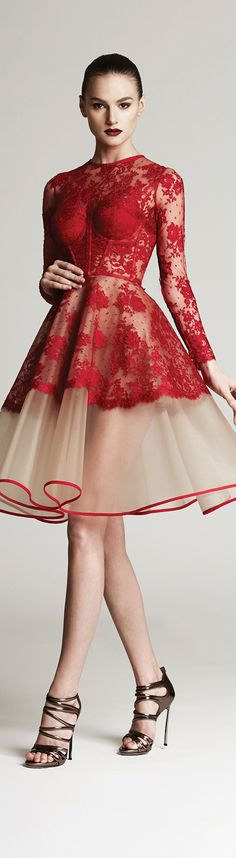 Christina Savulescu - red and nude lace dress 2