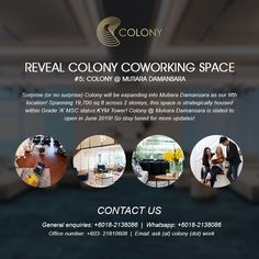 #Colony #Coworking #CoWorkingSpaceKl #Service #Office #VirtualOfficeKl #EventSpaceKl #KualaLumpur #ColonSpaceKl