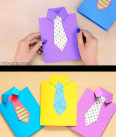 How to make a Father's Day shirt card (template included) – … – Origami – Vatertag Kids Fathers Day Crafts, Fathers Day Art, Fathers Day Shirts, Fathers Day Presents, Diy Father's Day Gifts, Father's Day Diy, Preschool Crafts, Crafts For Kids, Kids Diy