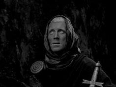"Max von Sydow ~ Bergman's ""The Seventh Seal"" Max Von Sydow, The Seventh Seal, Ingmar Bergman, Human Mind, Great Films, Film Stills, In Hollywood, Cinematography, Jon Snow"