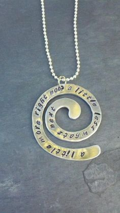 Hand Stamped Swirl aluminum quote necklace A little by cherryblvd, $22.50
