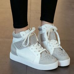 Купить товар 2015 новый алмаз у женщин с толстым дном склон высокие ботинки  падают на плоской подошве корейских женщин Shoe32 в категории Кроссовки для  ... 04b11d979fc
