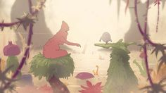 Very short animation of a chicken and a .. a .. I dont know. I just love the color palette. :)