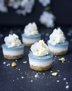Vegan Dessert Inspiration: Ice Blue Lemon Cheesecake Bites Raw, vegan, gluten free, refined sugar free with a sweet coconut cream icing Raw Vegan Desserts, Mini Desserts, Vegan Sweets, Delicious Desserts, Dessert Recipes, Vegan Recipes, Blue Desserts, Coconut Desserts, Vegan Meals