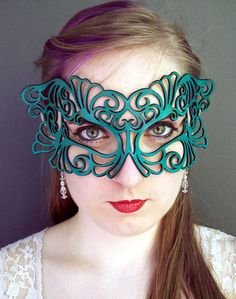 Coquette leather mask in teal by TomBanwell on Etsy