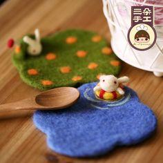 三朵 羊毛毡材料包 戳戳乐手工DIY 杯垫 羊毛毡戳戳乐