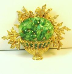 Vintage Hattie Carnegie Green Glass Flower Basket Pin