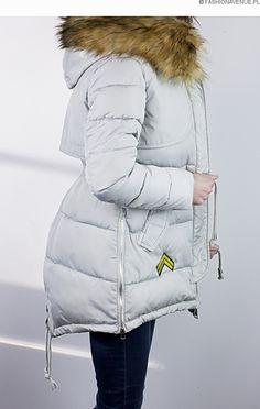 Kurtka damska zimowa parka naszywki jenot militarna asymetryczna szara model #111 www.fashionavenue.pl