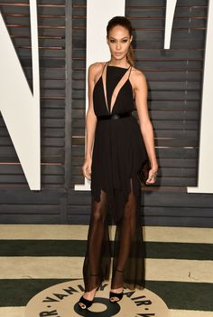 Joan Smalls in a Balmain spring 2015 look (the Kris Jenner effect continues) and jewelry by GAYDAMAK at the Vanity Fair Oscar Party. Photo: Pascal Le Segretain/Getty Images