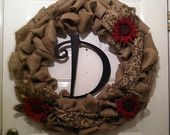 Monogram Wreath - Monogram Door Decor - Monogram Burlap Wreath - Wedding Wreath - Rustic Wedding - Farmhouse Wreath - Front Door Wreath - pinned by pin4etsy.com