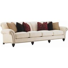 Royal Kahala Edgewater Rolled Arm Extended Sofa with Decorative Nailhead Trim by Tommy Bahama Home at Baer's Furniture