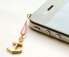 Anchor iPhone Earphone Plug, Dust Plug - gold anchor charm with pink cord. Cellphone Accessories, phone decoration, nautical charm. $6.00, via Etsy.