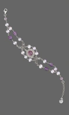 Jewelry Design - Double-Strand Bracelet with Sterling Silver and Amethyst Button and Cultured Freshwater Pearls - Fire Mountain Gems and Beads