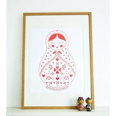 Our 'Mabel' matryoshka doll is now availavble as a beautful bold print, with a retro Scandinavian feel it will brighten up any room and add a little joy to your day! Printed in bright red ink on a white, smooth finish 300gsm card. Standard A2 size (42cm x 59.4cm) to fit standard off the shelf frames. Printed area approx. 28cm x 46cm. Sold unframed. $69.81