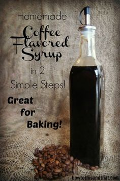 Quick & Easy Homemade Coffee Flavored Syrup Extract - pour over ice cream, pancakes, and brownies. It can be mixed into cocktails to infuse coffee flavor - Coffee Milk, Coffee Creamer, Coffee Drinks, Coffee Syrups, Coffee Deserts, Coffee Kombucha, Coffee Maker, Coffee Flavored Syrup, Recipe For Coffee Syrup