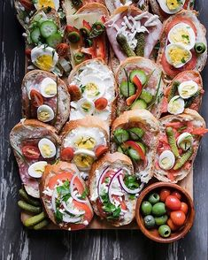 Perfect day for Open Faced Sandwiches (aka Obložené Chlebíčky) by with ALL the toppings. Czech Recipes, Ethnic Recipes, Book Club Snacks, Open Faced Sandwich, Perfect Day, Party Platters, Wrap Sandwiches, Canapes, Dinner Tonight