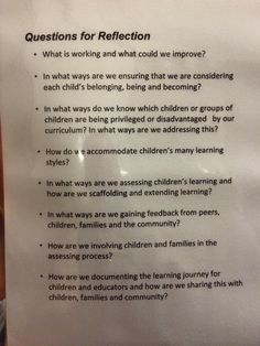 Some great questions for self-reflection to be asking ourselves and discussing with colleagues - UCLG Early Years Capacity Building - Learning Stories, Play Based Learning, Project Based Learning, Early Learning, Reflective Teaching, Reflective Practice, Reggio Classroom, Classroom Decor, Emergent Curriculum