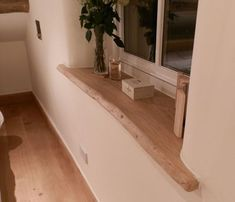 Waney Edged Window Board - window boards to be fashioned out of one piece of timber with a curved but not straight edge. Wood Window Sill, Interior Window Sill, Window Ledge, Interior Windows, Window Frames, Wooden Window Valance, Window Sill Decor, Interior Shutters, Room Window