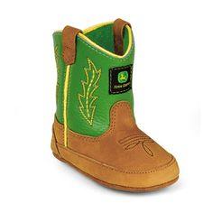 a0a839d54e03f Johnny Popper Green Tan Crib Sized Wellington Boot John Deere Lawn Mower