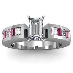 Emerald Cut Ruby Baguette Engagement Ring