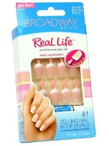 (3 pack) Broadway Real Life Nail Kit Glue-on Real Short Nails # 00557 BSF05 ROSE by Kiss. $7.53. 2 kits included here! Chip free!. Comes with pink gel glue 2 ml, manicure stick and mini file.. Glue on nails.. Real short Length.. 24 nails in 12 sizes.. Hard to find item!. Save 37% Off!