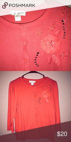 2b82078a902 Christopher Banks Salmon Pink Cardigan Medium Cardigan with beading detail.  Great color!