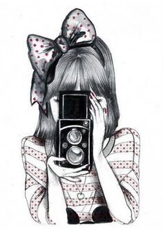 I adore this girl with an old camera illustration. Beautiful Drawings, Cute Drawings, Music Drawings, Digital Foto, Camera Drawing, Love Art, Amazing Art, Awesome, Watercolor Flowers