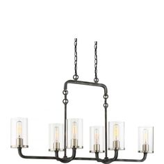 6 Light Sherwood Island Pendant Finish Clear Glass Lamps Included