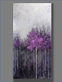 FREE SHIPPING Acrylic Painting Purple  Abstract Painting