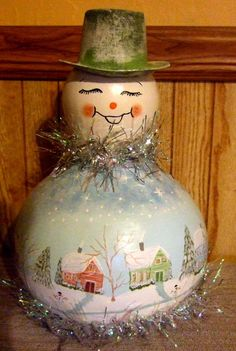 Christmas Gourd Snowman Village Scene by treasuredwishes on Etsy
