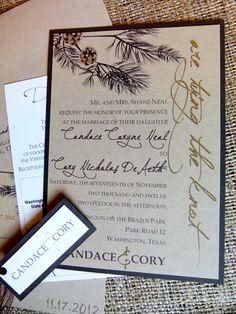 Wedding Invitation - Rustic Elegance (Recycled Paper). $6.00, via Etsy.