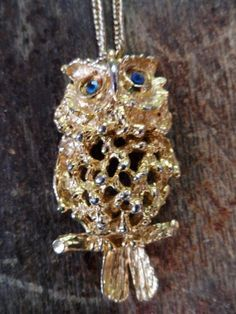 VINTAGE TANCER II Articulated Owl in Gold  Unique Style Design Pendant Necklace via Orphaned Treasures Etsy