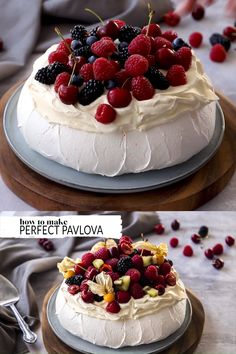 This perfect easy pavlova recipe is all you need to create a showstopping dessert to impress your friends and family. Top it with whipped cream and seasonal fruits for a truly beautiful dessert. Easy Cake Recipes, Sweet Recipes, Baking Recipes, Dessert Recipes, Chef Recipes, Crockpot Recipes, Christmas Pavlova, Christmas Desserts, Australian Pavlova Recipe