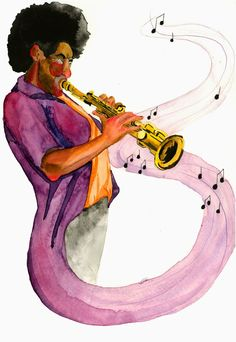 "An image I did for a poster project I""m working on for the playboy jazz festival watercolor, micron, and ink on strathmore watercolor paper mariaoglesbyart.blogspot.com"