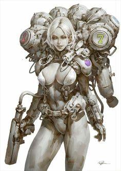 Snow White by Puppeteer Lee : Cyberpunk Arte Ninja, Arte Robot, Character Concept, Character Art, Concept Art, Character Illustration, Illustration Art, Cyberpunk Kunst, Science Fiction Kunst
