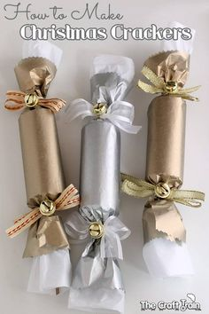 Instructions for making your own festive crackers - with both Christmas and New Years versions, plus a handy list of ideas for what to include in your cracker. christmas crackers How to Make Party Crackers for Christmas and New Years Victorian Christmas, Christmas Love, Homemade Christmas, Christmas And New Year, Christmas Holidays, Christmas Ideas, Christmas 2019, Christmas Activities, Christmas Projects