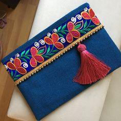 Ocean blue handbag boho bag bohemian clutch by BOHOCHICBYDAMLA