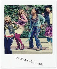 "the cheetah girls, I forgot how much I love these characters - from left to right Dorinda ""Do' Re Mi"" Rogers in the movie she is Dorinda Thomas and is often just called Doe Chanel Simmons Galleria ""Bubbles"" Garibaldi Aquanette ""Aqua"" Walker The Cheetah Girls, Weird Facts, Crazy Facts, Old Disney, Girl Meets World, Disney Stars, 2000s Fashion, Girl Costumes, Childhood Memories"