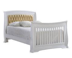 Bella Gold Double Bed with Gold Diamond Tufted Upholstered Headboard Panel - Bella Gold Collection - Safe Kids & Baby Furniture Collections - Baby Furniture - Natart Juvenile Baby Furniture, Double Beds, Rocking Chair, Nursery Ideas, Mattress, Solid Wood, Baby Kids, Upholstery, Diamond