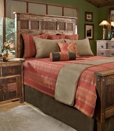Design Class 101: Pushing the style envelope, some men might stretch to a Southwestern theme as it still contains rugged and rustic elements. What do the students think?  Salsa Stripe Southwestern Bedding - Free Shipping!