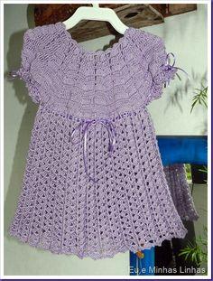 Vestido em Crochê para Meninas