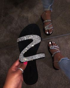 Footwear 😈 S Flat Diamond Sandals / Slippers is accessible to buy now on Baddify 👉 Cute Sandals, Cute Shoes, Black Sandals, Me Too Shoes, Women's Shoes, Shoe Boots, Glitter Sandals, Sparkly Sandals, Rhinestone Sandals