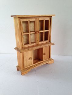 Miniature Furniture - Small Scale Doll Cherry Wood Hutch - Traditional Style for Dollhouses - Kitchen Cupboard Cabinet Check out missdollhouse.com